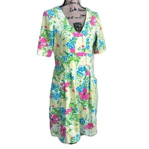 Lilly Pulitzer Floral V-neck Knit Dress L